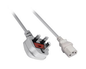 Mains Cable, IEC C13 (Kettle Lead) 5A, 2m UK, White