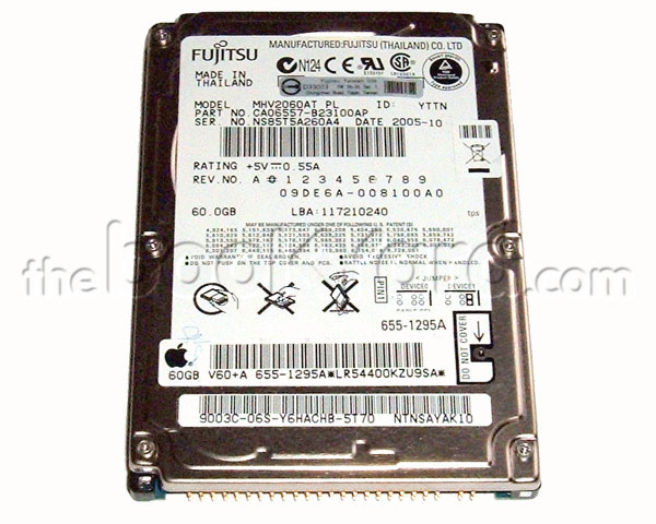 Apple branded 80GB ATA notebook hard drive, Fujitsu