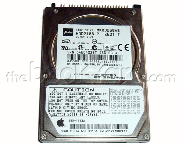 Apple branded 80GB ATA notebook hard drive, Toshiba